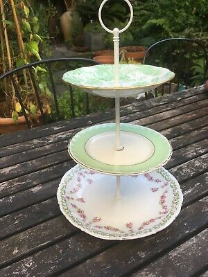 3 Tier Vintage China Cake Stand In Greens And Pink • 11.99£