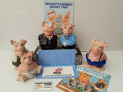 NatWest Pigs Complete Family Set By Wade All With Stoppers And Piggy Banker Pack • 49£