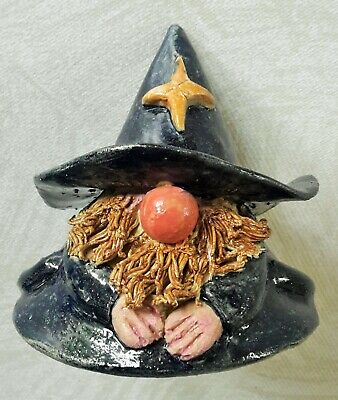 Studio Pottery Wizard Figure – Unique Hand Made – Jolly Red Nose – Vgc • 14.99£