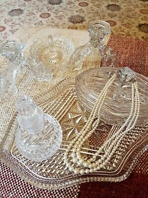 Vintage Glass Dressing Table Set - 6 Pieces • 28.99£