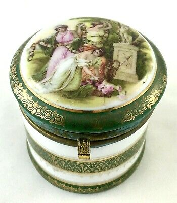 Porcelain & Gilt Metal Antique Trinket Box With Classical Transfer Decoration • 9.50£