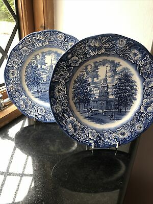 Liberty Blue Independence Hall 10 Inch Dinner Plate Ironstone. VGC • 6.99£