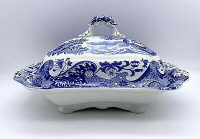 Spode Blue Italian Square Vegetable Dish Or Tureen With Cover & Handles • 45£
