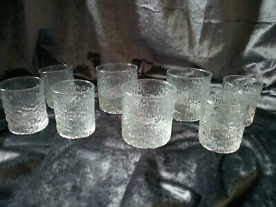 Lot Of 8 Whitefriars Glacier Bark Design Drinking Tumblers Hand Blown • 65£