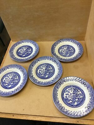 """5 Vintage Barratts Of Staffordshire Fluted Blue Willow Pattern Side Plates 7"""". • 14.99£"""