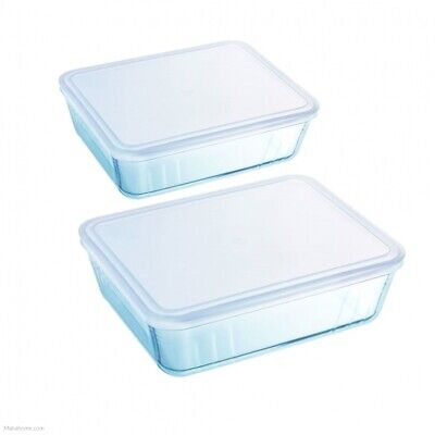 Pyrex Rectangular Storage Glass Dish With Lid Set Of 2 Pieces - Clear • 14.49£