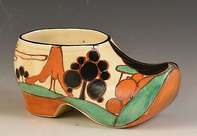 Clarice Cliff - TREES & HOUSE LARGE CLOG OR SABOT C.1931 • 425£