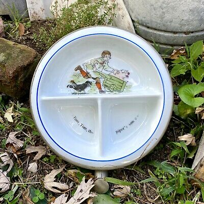 Vintage Excello Ceramic Baby Toddler Warming Dish Bowl Peter Pipers Son 1930s • 13.85£