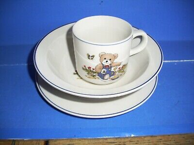 Vintage 3 Kun-lin Pottery Plate, Bowl And Cup With Teddy Eating • 15£