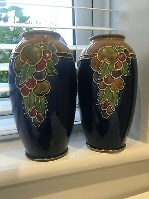 Vintage Royal Doulton Decorative Vase - Fruit Design Ethel Beard 8709 • 85£