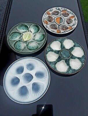 X4 Vintage  Majolica  French Oyster  Plates   • 35£