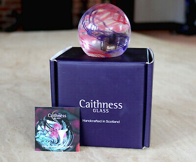 Bnib Caithness Paperweight Scottish Glass Collection Rock & Reel Hyacinth/ruby  • 14£