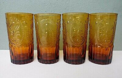 Anthropologie - Fleur De Lis - Large Amber Glass Tumblers - Set Of 4 • 24.29£