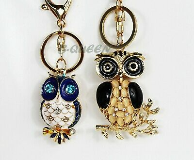 Crystal Rhinestone Metal Blue/black Owl Cute Charm Handbag Keyring  Lovely Gift • 5.99£