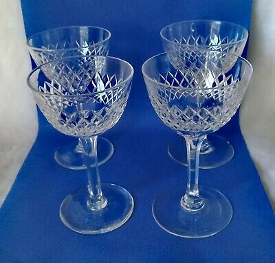 Vintage Set Of 4 Cut Glass Tall Stemmed, Small Bowl Wine Champagne / Glasses  • 10.50£