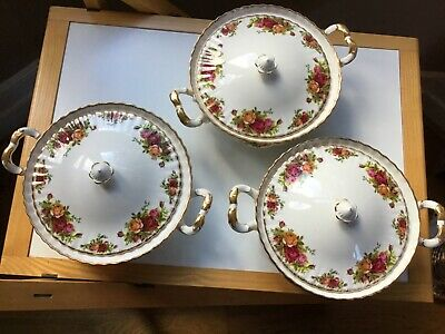 "3 Royal Albert ""Old Country Roses"" Bone China Covered Vegetable Dishes • 84£"