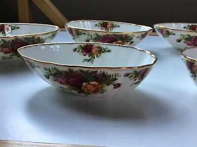 6 X Vintage Royal Albert Old Country Roses Rare Avocado Dishes • 49.44£