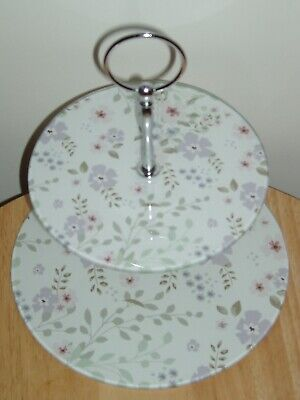 Cake Stand. NEW With Box. 2 Tier. Glass. Floral. • 8.99£