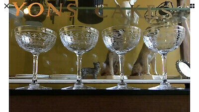 Set Of 4 Antique Late Victorian Engraved Small Champagne Glasses / Coupes • 60£