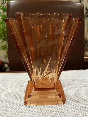 Art Deco, Bagley, Clear Pink Glass, Grantham, Centre Piece Vase • 40£