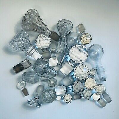 Collection Of Vintage Crystal & Glass Decanter/Bottle Stoppers 10.5 To 2cm Tall • 19.99£