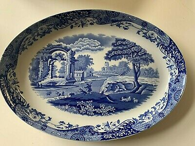 SPODE Blue Italian High-sided Large Oval Platter 36cm Long. Good Condition. • 5£