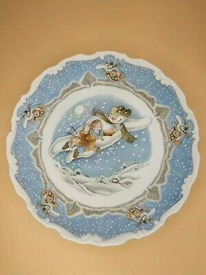 Vtg Royal Doulton WALKING IN THE AIR Snowman Plate Collection 1985 Bone China • 5.10£