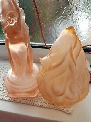 Walther And Sohne, Three Graces, Art Deco Pink Glass Lamp • 95£