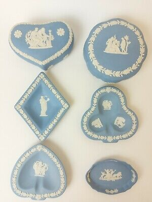 6 Wedgewood Pale Blue And White Small Jasperware Plates/Trinket Boxes  • 17.99£