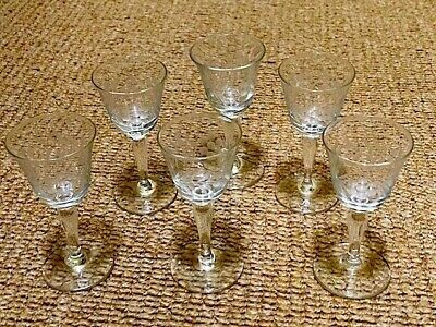 Set Of 6 Vintage Etched Small Sherry Glasses. Lovely. • 14.99£