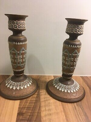 Antique Royal Doulton Pottery Silicon Pair Of Candle Sticks Holders • 20£