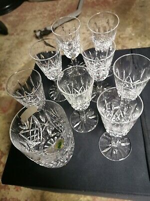 8 WATERFORD Lead Crystal LISMORE Cut White Wine Glasses • 95£