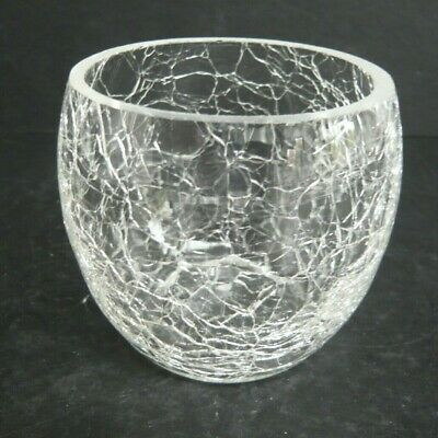 Clear Crackle Glass Flower Posy Bowl • 3.50£