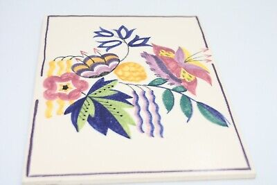 Retro Poole Pottery Hand Painted Tile Unusual Stylised Floral Design 8x6  • 32£
