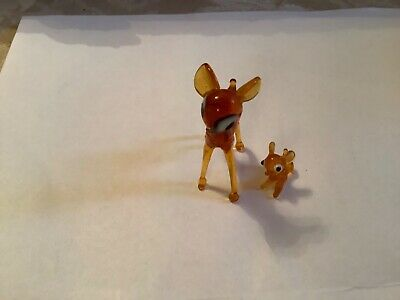 Vintage Small Handblown Glass Deer And Fawn • 2£