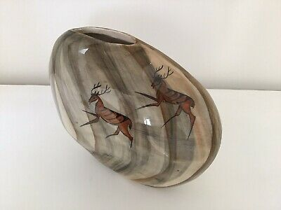 Signed Babbacombe Pottery Ceramics 'Lauriana Studio' Stag Deer Cave Painting • 18£