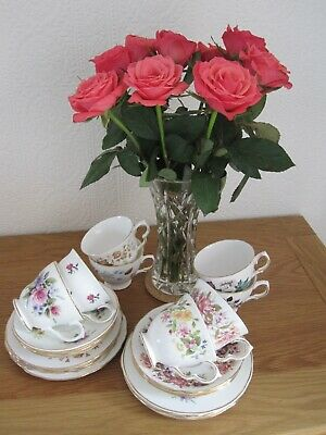 Vintage Bone China Tea Set - 8 X Trios - Colclough, Royal Vale And More • 25£