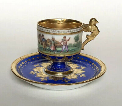 Ambrosius Lamm Dresden Porcelain Demitasse Cabinet Cup & Saucer - Finely Painted • 299£