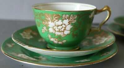 ANTIQUE CROWN STAFFORDSHIRE - EARLY 19c - GREEN GOLD TEA  COFFEE CUPS PLATES ETC • 39.99£