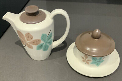 Poole Pottery Small Coffee Pot And Lidded Sugar Bowl Integrated Saucer Rare • 10£