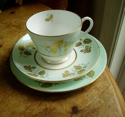 Shelley Green Peony Trio (cup, Saucer, Plate) Vgc • 9.99£