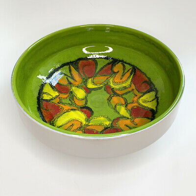 Mid-Century Modern Large Poole Pottery Delphis Bowl, Shape 89 In Green, Signed • 39.99£