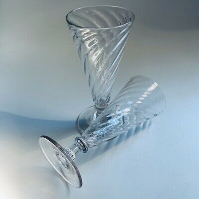Pair Of Early 19th Century Dwarf Ale Glasses Wrythen Twisted Conical Plain Foot • 39.99£