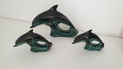 Set Of Three  Poole Pottery Graduated Dolphins Ornaments • 15£