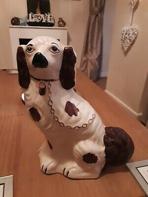 Charming 27cm  Flat Back White Antique Wally Dog With  Black Nose • 11.99£