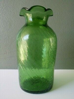 Vintage Green Crackle Glass Mid Century Art Glass Vase 10  • 18.80£