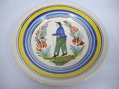 Old Quimper/Faience Style Plate – Man Walking • 3.99£