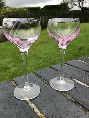 Pair Of Vintage Wine Glasses Hand Blown With Pink And White Swirl. • 4.99£