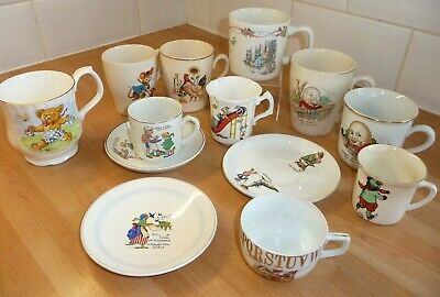 Job Lot Vintage Nursery Ware Cup Saucer Rhyme Humpty Dumpty Teddy Peter Rabbit • 16.99£