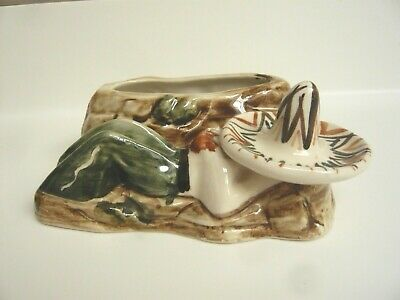Small Retro Jersey Pottery Posy Vase / Trough: Mexican Sleeping Under Sombrero • 4.50£